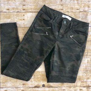 Zara Camo Moto Skinny Jeans 4 Ankle